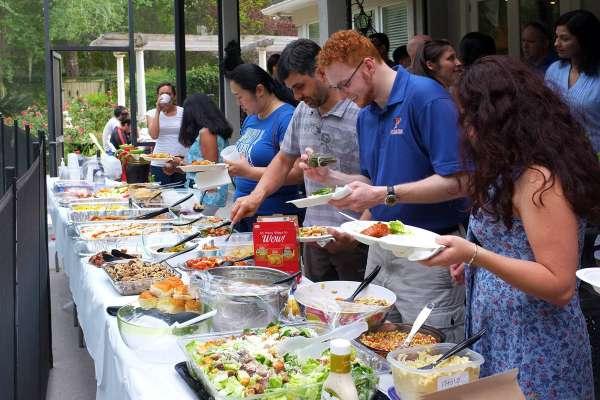 students at buffet
